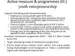 active measure programmes ii i youth entrepreneurship