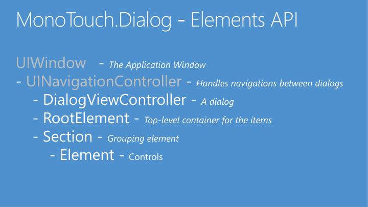 MonoTouch.Dialog