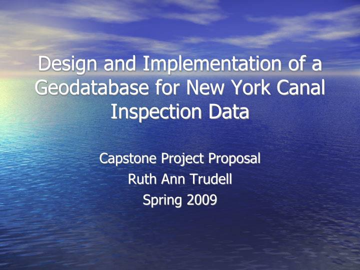 capstone project proposal ruth ann trudell spring 2009 n.