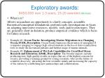 exploratory awards 450 000 over 1 3 years 15 20 awarded michele
