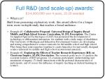 full r d and scale up awards 3 4 000 000 over 4 years 15 20 awarded