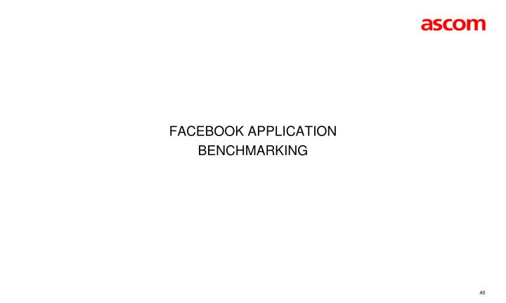 Facebook Application benchmarking