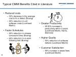 typical cmmi benefits cited in literature