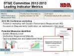 dt e committee 2012 2013 leading indicator metrics