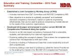 education and training committee 2013 task summary