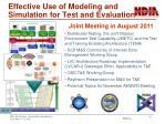effective use of modeling and simulation for t est and evaluation