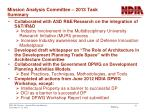 mission analysis committee 2013 task summary