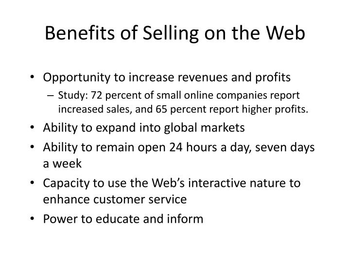 Benefits of Selling on the Web