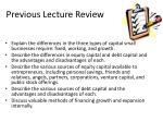 previous lecture review