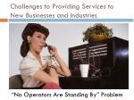 challenges to providing services to new businesses and industries1
