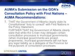 auma s submission on the goa s consultation policy with first nations auma recommendations