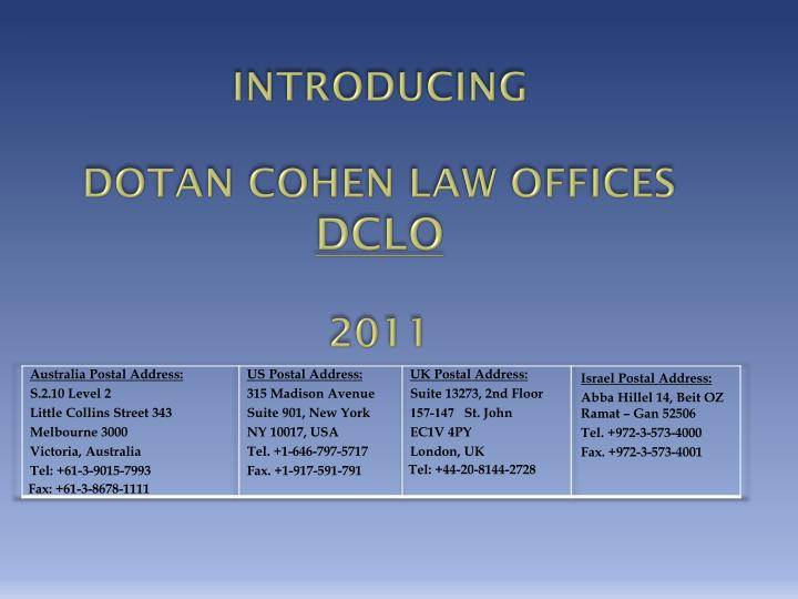 introducing dotan cohen law offices dclo 2011 n.