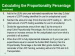 calculating the proportionality percentage continued