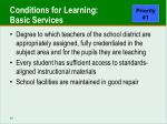 conditions for learning basic services
