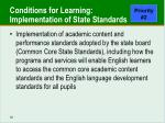 conditions for learning implementation of state standards