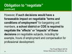 obligation to negotiate continued
