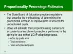 proportionality percentage estimates