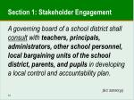 section 1 stakeholder engagement