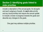 section 2 identifying goals linked to state priorities