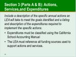 section 3 parts a b actions services and expenditures