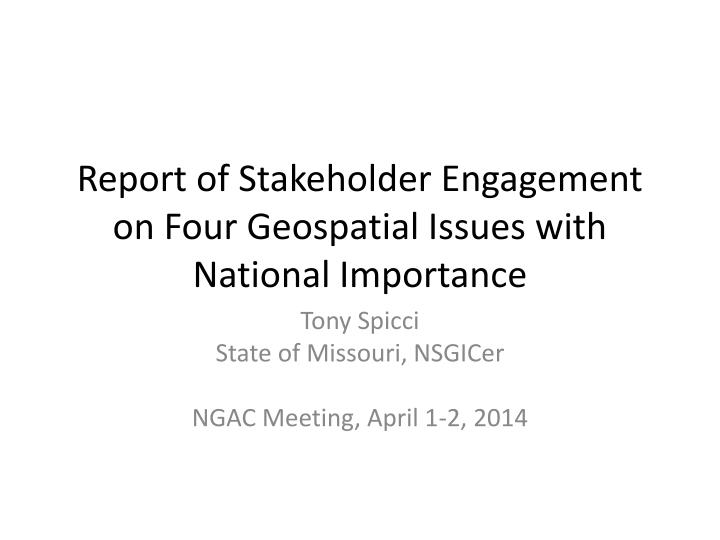 report of stakeholder engagement on four geospatial issues with national importance n.