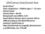 gdp literacy rate growth rate