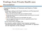 findings from private health care association