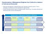 transformation of management regimes from vertical to a balance of vertical and horizontal
