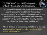 executive order 13636 improving critical infrastructure cybersecurity