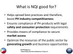 what is nqi good for