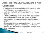 agile the pmbok guide and a new certification