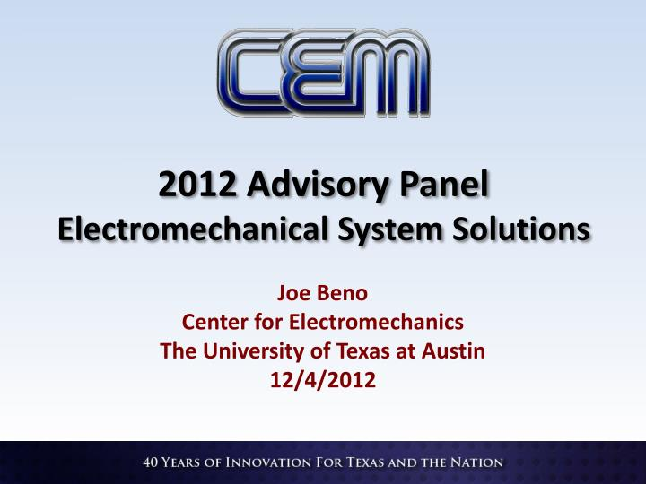 2012 advisory panel electromechanical system solutions n.