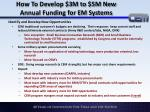 how to develop 3m to 5m new annual funding for em systems