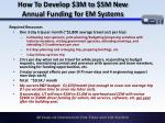 how to develop 3m to 5m new annual funding for em systems3