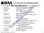 2012 jpc planning milestones for reference