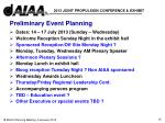 preliminary event planning