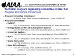 technical program organizing committee contact list program committee contact list