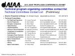 technical program organizing committee contact list technical committees contact list preliminary