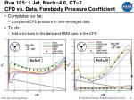 run 165 1 jet mach 4 6 ct 2 cfd vs data forebody pressure coefficient