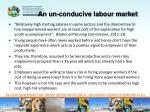 an un conducive labour market