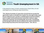 youth unemployment in sa2