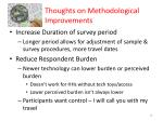 thoughts on methodological improvements