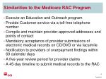 similarities to the medicare rac program