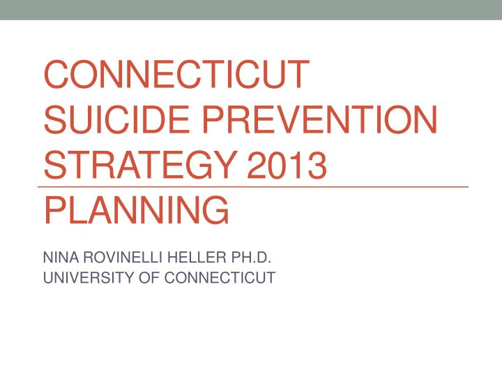 connecticut suicide prevention strategy 2013 planning n.