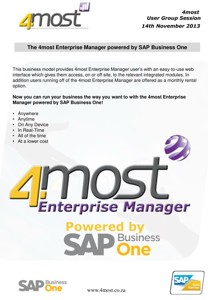 The 4most Enterprise Manager powered by SAP Business