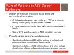 role of partners in abs career pathways