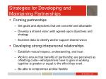 strategies for developing and maintaining partnerships1
