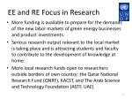 ee and re focus in research