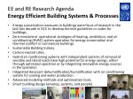 ee and re research agenda energy efficient building systems processes