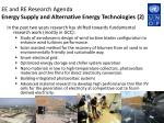 ee and re research agenda energy supply and alternative energy technologies 2